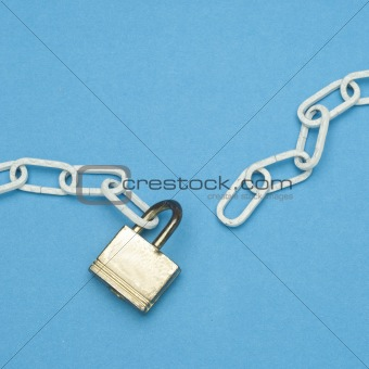 Broken Chain and Lock Security Concept