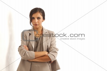 Portrait of young executive businesswoman wearing suit