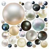 Collection of color pearls isolated. 