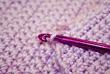 Purple Yarn with crochet hook