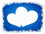 Snow frame in the shape of heart. EPS 8