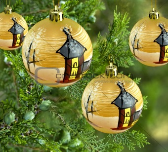 xmas decorations pine tree with fancy gold bauble balls