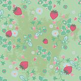 tileable vector illustration of a seamless pattern of strawberries and flowers