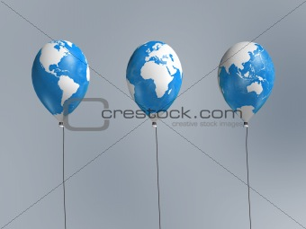 three global map balloon