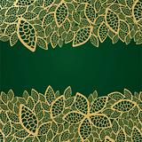 Golden leaf lace on green background