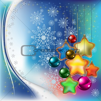 abstract christmas background with colored stars and balls