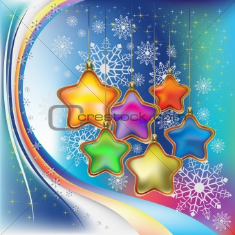 abstract christmas background with colored stars