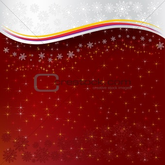 abstract christmas red background snowflakes with stars