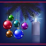 Christmas greeting with decoration and blue candle