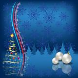 christmas tree with balls on blue snowflakes background