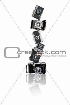 Pyramid of old cameras
