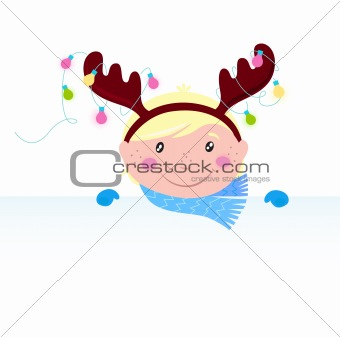 Cute funny Child in reindeer costume with blank banner / sign