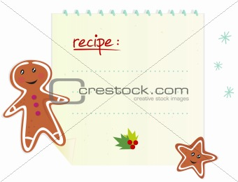 Christmas banner / recipe with blank space, ginger bread and cookie