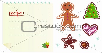 Cookies or christmas icons with recipe isolated on white