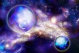 mystic luminous nebula and planet