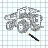 Hand-drown cargo truck sketch
