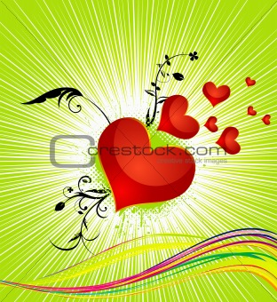 abstract colorful red heart vector illustration