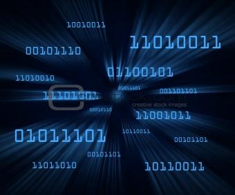 Blue bytes of binary code flying through a vortex