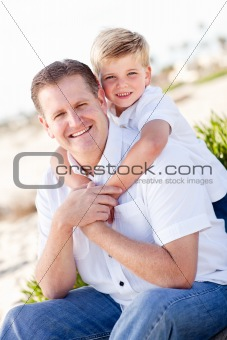 Cute Son with His Handsome Dad Portrait at the Beach
