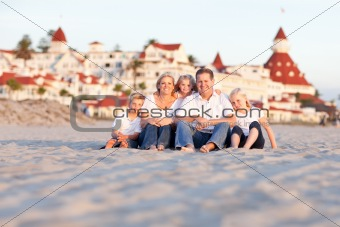 Happy Caucasian Family in Front of Hotel Del Coronado on a Sunny Afternoon.
