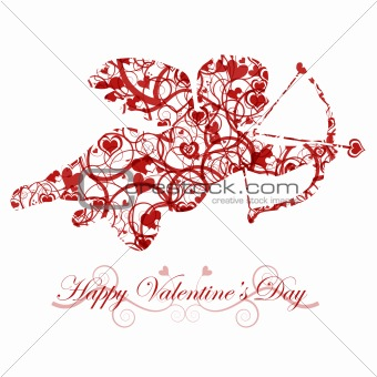 Valentine's Day Cupid with Bow and Heart Arrow