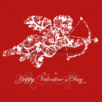 Valentine's Day Cupid with Bow and Heart Arrow Red