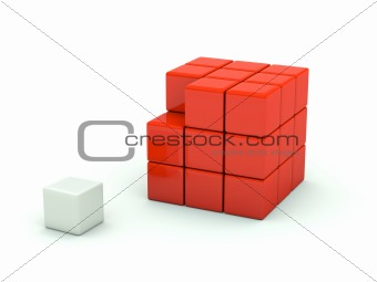 3d cube isolated on white. Red series