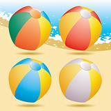 beach balls on the seashore