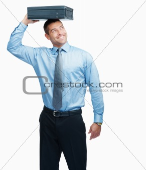 Happy business man with a briefcase over head on white
