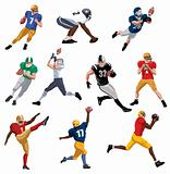 Set Illustration of an American footballer. Vector