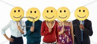 business people with emoticon