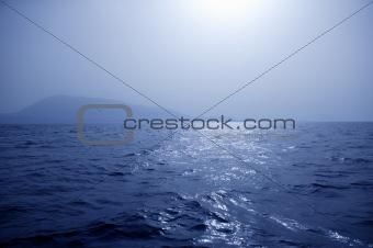 Foggy Mediterranean morning on the sea