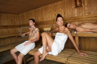 Sauna spa therapy young beautiful people group