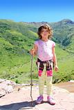 Explorer mountain girl hicker stick cane green valley