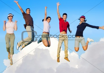 Jumping young people happy group flying in sky