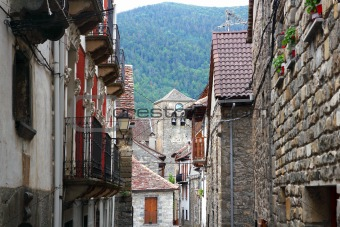 Anso Village street stone houses in Pyrenees