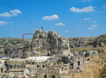 Madonna De Idris roch-church. Sassi of Matera. Basilicata.