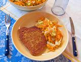 Cutlet with grated carrots.