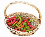 Chili peppers in vimini basket.