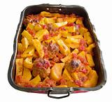 Potatoes and Meatballs in nonstick baking-pan.