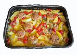 Potatoes and Meatballs in nonstick baking-pan.