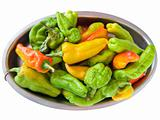 Green and Yellow peppers on silver tray.