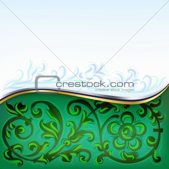 abstract background green and blue with floral ornament