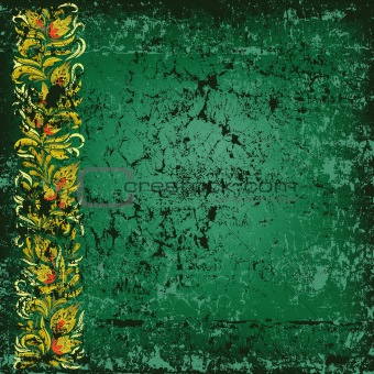 abstract background grunge green wall with floral ornament