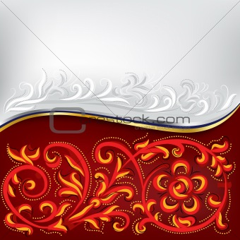 abstract background red and white with floral ornament