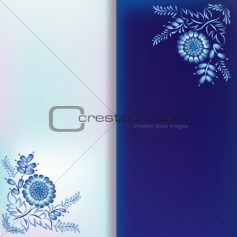 abstract background with blue floral ornament