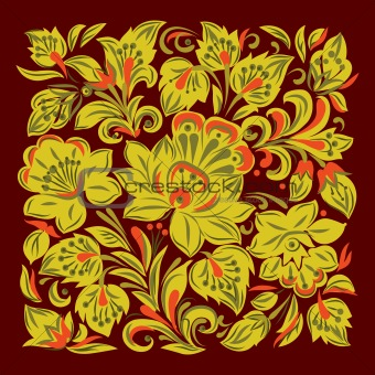 abstract background with floral ornament on black
