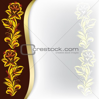 abstract background with floral ornament on brown
