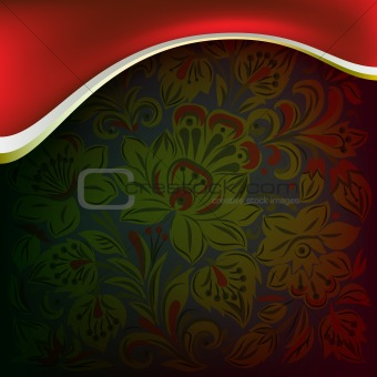 abstract background with floral ornament on dark