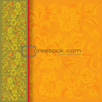 abstract background with floral ornament on green